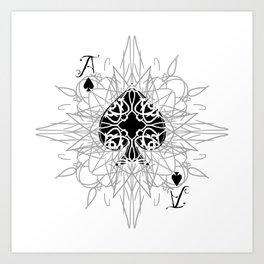 Tribal Mandala Watermark Ace of Spades Art Print