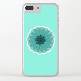 turquoise blue geometrical flower Clear iPhone Case