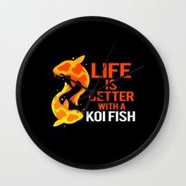 Koi Fish Life Better Japanease Carp Nishikigoi Wall Clock