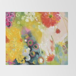 abstract floral art in yellow green and rose magenta colors Throw Blanket
