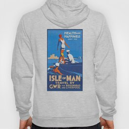 1932 Isle Of Man Health And Happiness Await You Travel Poster Hoody