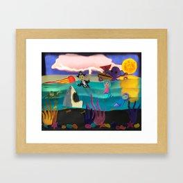 Little Pirate Shipwrecked in Mermaid Land Paper Art Framed Art Print