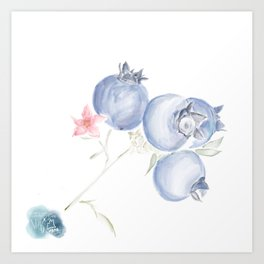 Red White & Blues ・Rustic Blueberries Art Print