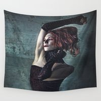 grunge Wall Tapestries featuring Grunge Moll by Spoken in Red