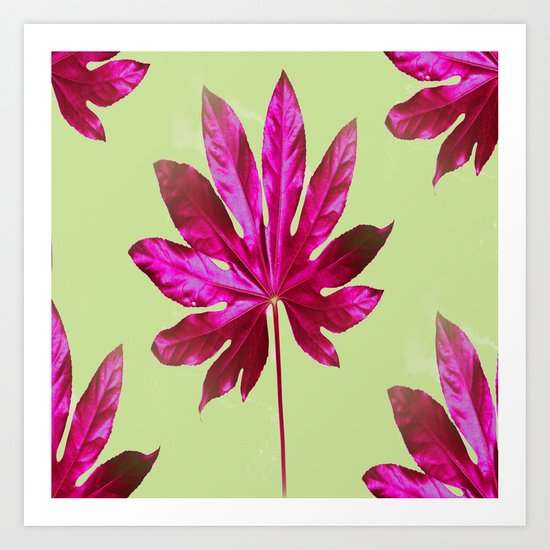 Large pink leaf on a olive green background - beautiful colors Art Print