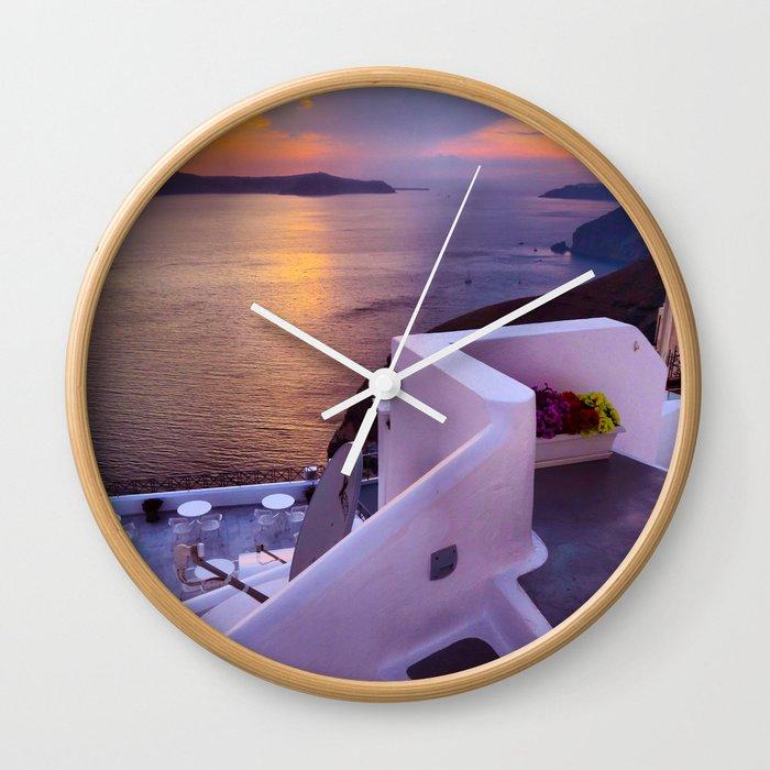 Santorini 24 Wall Clock By Haroulita Society6