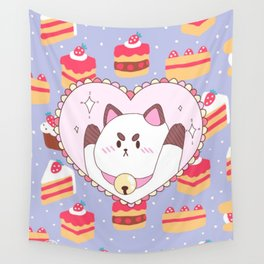 Puppycat Sparkle Heart Strawberry Cake Wall Tapestry