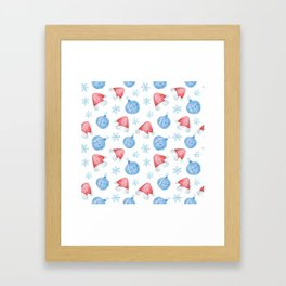 Watercolor Christmas pattern of Christmas balls, red caps and snowflakes Framed Art Print