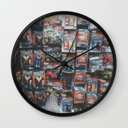 robot toy and car toy at the toy store pattern background Wall Clock