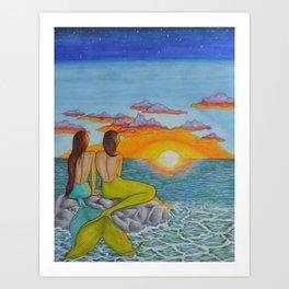 Mermaid Sunset Art Print