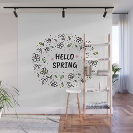 Hello Spring illustration Wall Mural