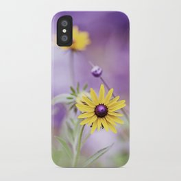 Purple Yellow Flower Photography, Violet Floral Green Nature iPhone Case