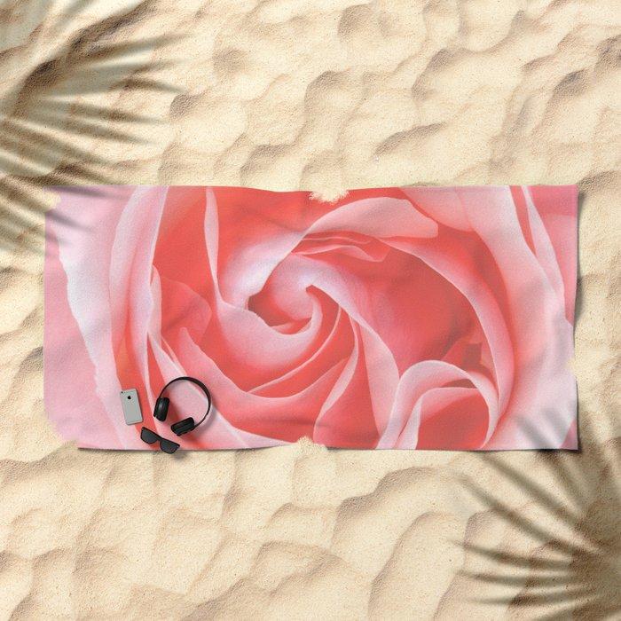 Velvet pink rose - Roses Flowers Flower Beach Towel