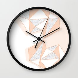 Geometric Nude Color Terrazzo Abstract Design Wall Clock