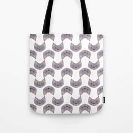 Grey Cat Head with Blue Eyes Tote Bag