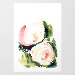 Abstract Watercolor Peonies Print Art Print
