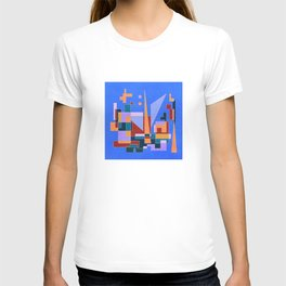 Modern City view in abstract geometric shapes T-shirt