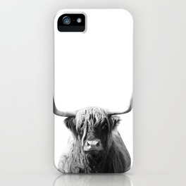 Highland cow | Black and White Photo iPhone Case