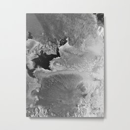 Moon Surface Abstract Painting Monochromatic Black and White Metal Print