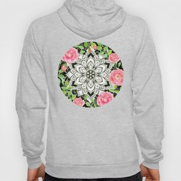 Peach Pink Roses and Mandalas on Black and White Lace Hoody