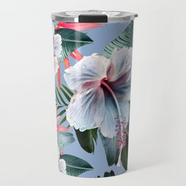Hawaii, tropical hibiscus vintage style blue dream palm leaves Travel Mug