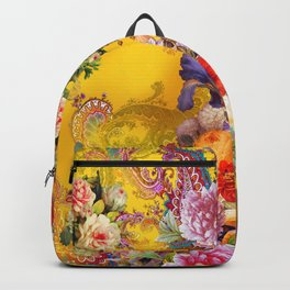 Seamless background with beautiful flowers and leaves. spring summer background Backpack