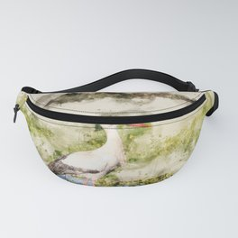 Stork in Pond Watercolor Fanny Pack