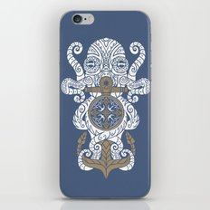 Octopus anchor and compass in tribal style iPhone & iPod Skin