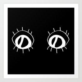Eyez - white on black Art Print