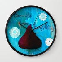 chocolate Wall Clocks featuring Chocolate by Patty Haberman