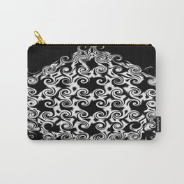 Curlicues Pentagon Black and White Pattern Carry-All Pouch