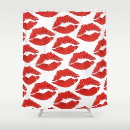 fire engine red lips Shower Curtain