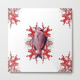Red Berries Fish Metal Print