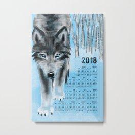2018 Wolf Calendar Metal Print
