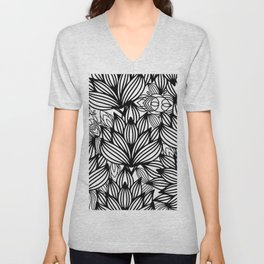 Modern hand drawn black white watercolor floral Unisex V-Neck