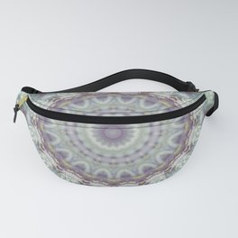 Pastel Floral Mandala in Mint, Purple and White Fanny Pack