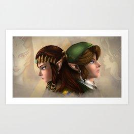 Link and Zelda Art Print