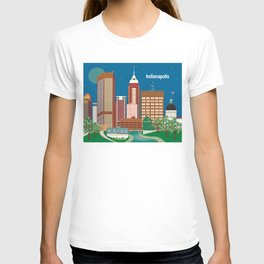 Indianapolis, Indiana - Skyline Illustration by Loose Petals T-shirt