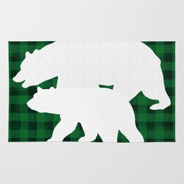 Green Plaid White Bears Rug