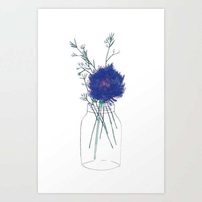 Flowers in a Mason Jar Art Print