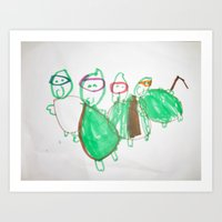ninja turtles Art Prints featuring Ninja Turtles by David's mommy