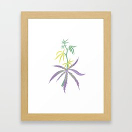 Hemp harvest cannabis colorful print leaf no.7 Framed Art Print