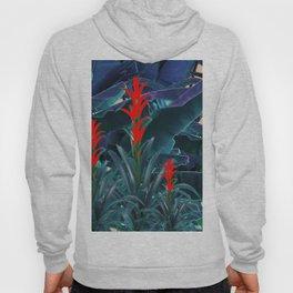 RED BROMELIAD FLOWERS & BLUE  JUNGLE LEAVES Hoody