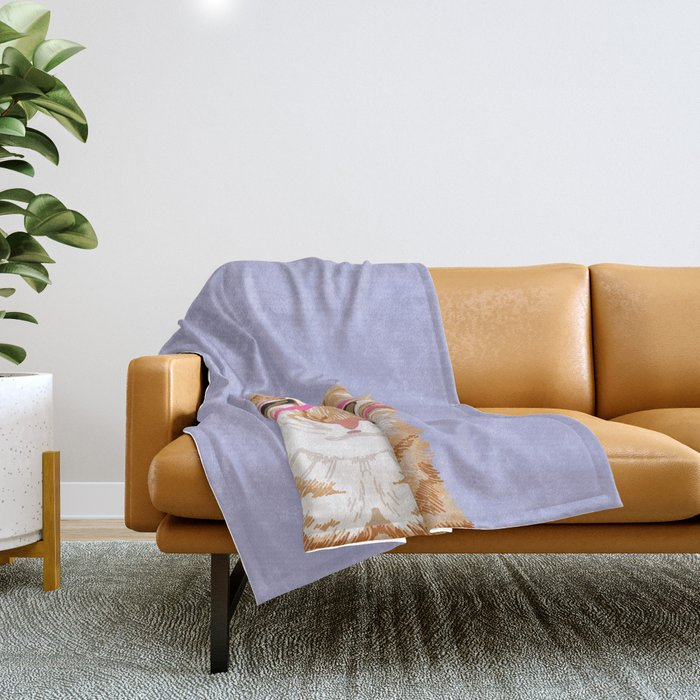 Mackenzie - Orange Tabby Cute Hipster Glasses Kitten Lavender Pastel Girly Retro Cat Art cell phone Throw Blanket