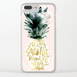 Pineapple Aloha Blush Clear iPhone Case