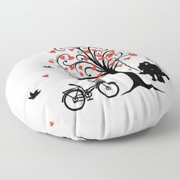 pair in love swinging on the seesaw and bike Floor Pillow