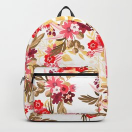 Pastel pink red brown modern hand drawn fall floral illustration Backpack
