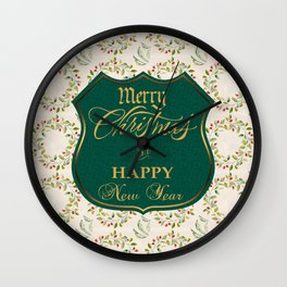 Golden Merry Christmas and Happy New Year Winter Wreath Wall Clock