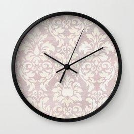Beige Shabby Damask Pattern Wall Clock