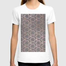 Modern abstract floral pattern rose gold on grey graphite cement concrete T-shirt